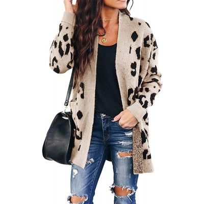 Chang Yun Women's Leopard Cardigan Sweaters Open Front Knit Kimono Long Sleeve Boyfriend Casual Coat Outwear with Pockets at Women's Clothing store