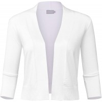 FashionMille Women's Basic 3 4 Sleeve Open Front Cropped Cardigan at  Women's Clothing store