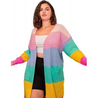 Floerns Women's Plus Size Colorblock Rainbow Cardigan Sweaters at Women's Clothing store