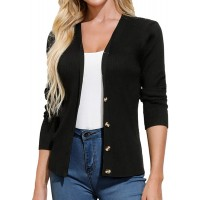 GRACE KARIN Women's Button Down Vee Neck Long Sleeve Rib Knit Cardigan Sweaters at  Women's Clothing store