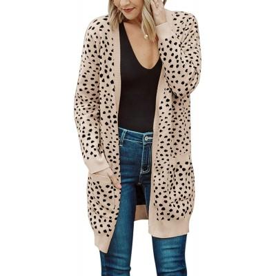 MEROKEETY Women's Open Front Knit Cardigan Winter Fall Sweater Dots Long Sleeve Pockets Coat Outwear at Women's Clothing store