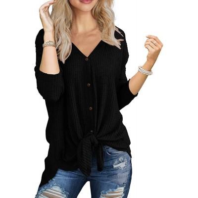 MOLERANI Womens Waffle Knit Tunic Blouse Tie Knot Henley Tops Loose V-Neck Fitting Bat Wing Plain Shirts at Women's Clothing store