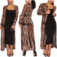 PROMLINK Women's Sequin Cardigans Open Front Long Sleeve Duster for Evening Prom at  Women's Clothing store
