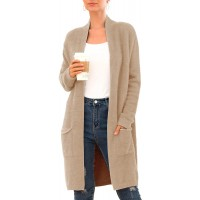 QIXING Women's Casual Open Front Knit Cardigans Long Sleeve Plush Sweater Coat with Pockets at  Women's Clothing store