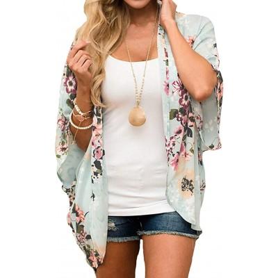 Relipop Women's Sheer Chiffon Blouse Loose Tops Kimono Floral Print Cardigan at Women's Clothing store