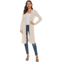SUNJIN ACRO Women's Lightweight Ribbed Long Sleeve Open Front Knit Cardigan Sweater with Side Slits at  Women's Clothing store