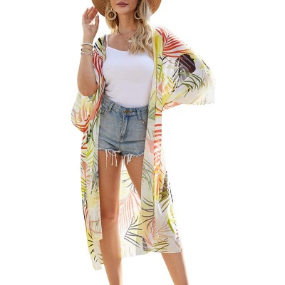 TRALOOK Womens Swimsuit Beach Cover ups Chiffon Kimono Loose Sheer Cardigan Lightweight Flowy Cover Ups at Women's Clothing store