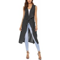 URRU Womens Casual Sleeveless Open Front Cardigan Sweater Vest with Pockets and Belt at  Women's Clothing store