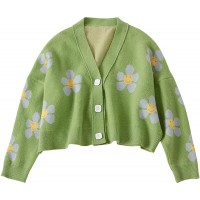 Women's Flower Long Sleeve Short Cardigan Casual Loose V Neck Button Knit Sweaters Green