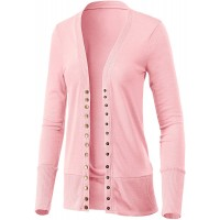 Women's Long Sleeve Snap Button Down Solid Color Knit Ribbed Neckline Casual Cardigan Sweater at  Women's Clothing store