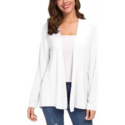 Women's Long Sleeve Solid Color Open Front Cardigan at Women's Clothing store