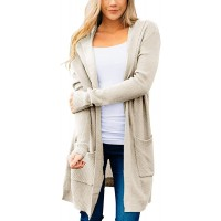 YIBOCK Women's Long Sleeve Hooded Open Front Knit Cardigan Sweater Outwear with Pockets at  Women's Clothing store