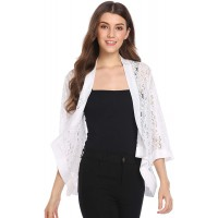 Zeagoo Women's Casual Lace Crochet Cardigan 3 4 Sleeve Sheer Cover Up Jacket Plus Size at  Women's Clothing store