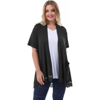 ZERDOCEAN Women's Plus Size Short Sleeve Lace Trim Lightweight Printed Drape Cardigan with Pockets at  Women's Clothing store