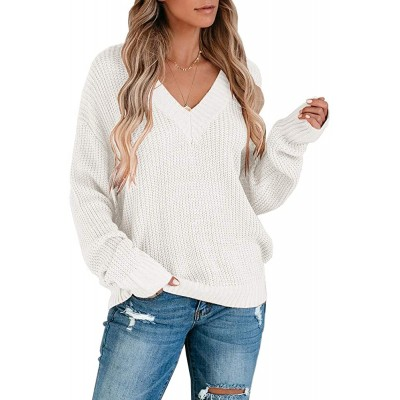 Chang Yun Womens V Neck Chunky Knit Sweater Pullover Long Sleeves Oversized Loose Fit Slouchy Jumper Top at Women's Clothing store