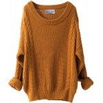 Liny Xin Women's Cashmere Oversized Loose Knitted Crew Neck Long Sleeve Winter Warm Wool Pullover Long Sweater Dresses Tops Ginger at Women's Clothing store