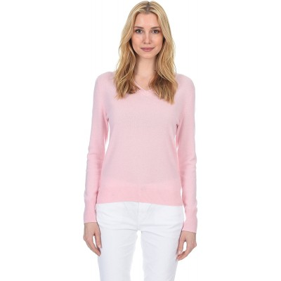 State Fusio Classic V-Neck Sweater Cashmere Wool Long Sleeve Fashion Pullover for Women at  Women's Clothing store