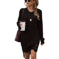 Women Oversized Loose Long Pullover Sweater Dress Winter Knit Ripped Jumper Tops at  Women's Clothing store