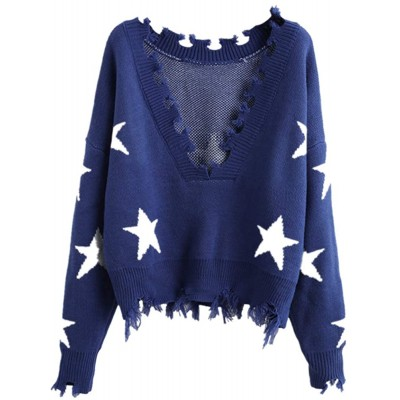 ZAFUL Women's Solid V Neck Loose Sweater Long Sleeve Ripped Jumper Pullover Knitted Crop Top Blue-Star at Women's Clothing store