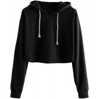 MAKEMECHIC Women's Casual Long Sleeve Pullover Hoodies Crop Tops Sweatshirt at  Women's Clothing store