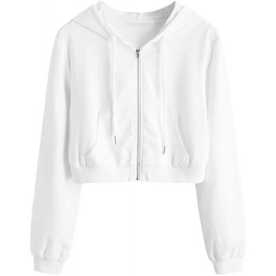 MakeMeChic Women's Long Sleeve Crop Jacket Zip Up Hooded Sweatshirt at Women's Clothing store