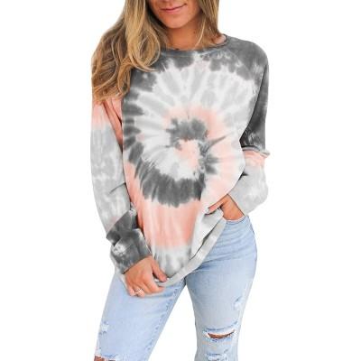 Misyula Style Women Tie Dye Sweatshirt Color Block Long Sleeve Crewneck Oversized Tshirt