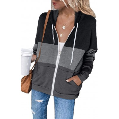 Shawhuwa Womens Long Sleeve Hooded Sweatshirt Hoodies Zip Up Track Jacket with Pockets at Women's Clothing store