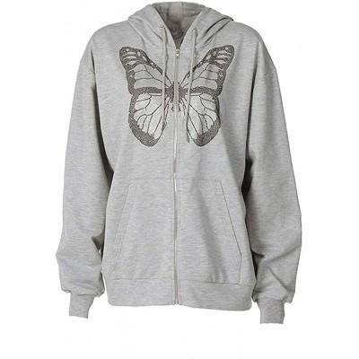 Women Long Sleeve Sweatshirt Oversized Butterfly Graphic Printing Zip Up Hoodies E-Girl 90s Grey Streetwears Jacket at Women's Clothing store