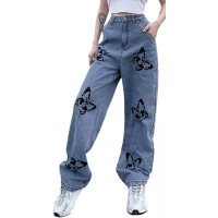 Honganda Fashion Women's High Waisted Pants Stretch Wide Leg Bootcut Jeans Streetwear Loose Casual Baggy Trousers at  Women's Jeans store