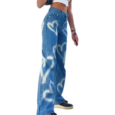 KMBANGI Women's High Waisted Wide Leg Pants Straight Denim Jeans Casual Baggy Trousers Y2K Streetwear Fashion at Women's Jeans store