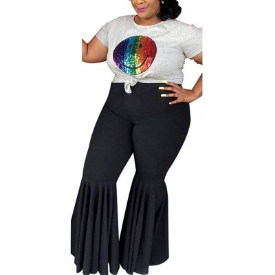 Aro Lora Women's Plus Size High Waist Ruffle Casual Party Club Flare Bell Bottom Pants at Women's Clothing store