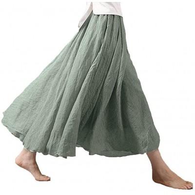 Asher Women's Bohemian Style Elastic Waist Band Cotton Linen Long Maxi Skirt Dress Waist 23.0-35.0 at Women's Clothing store