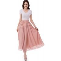 emondora Women's Chiffon Long A-line Retro Skirts Pleated Beach Maxi Skirt at  Women's Clothing store