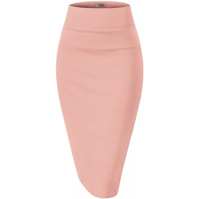 H&C Women's Elastic Waist Stretchy Office Pencil Skirt Made in USA at Women's Clothing store