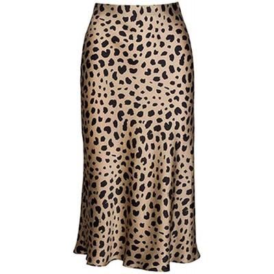 Keasmto Leopard Midi Skirt Plus Size for Women High Waist Silk Satin Elasticized Skirts at Women's Clothing store