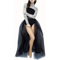 L'VOW Women' 4 Layers Overlay Long Tulle Dress Floor Length Tutu Skirt for Party Wedding Black at  Women's Clothing store