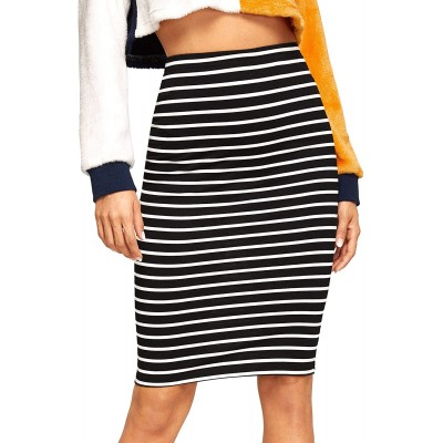 SheIn Women's Striped Knee Length Elastic Waist Bodycon Pencil Skirt at Women's Clothing store