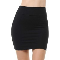 Trendy Street Basic Double-Layer Cotton Simple Stretchy Tube Pencil Mini Skirt