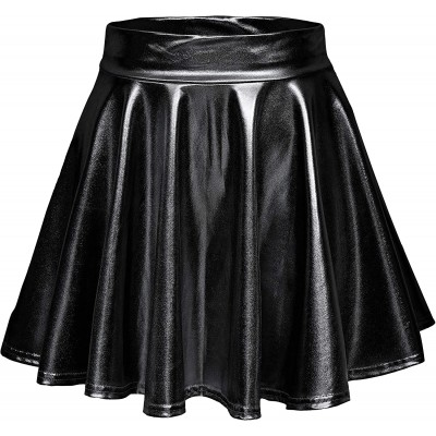 Urban CoCo Women's Shiny Flared Pleated Mini Skater Skirt at Women's Clothing store