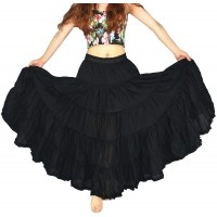 YSJERA Women's Cotton 5 Tiered A Line Pleated Maxi Skirt Long Swing Dance Skirts One Size Black at  Women's Clothing store