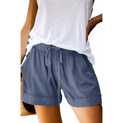FEKOAFE Women Comfy Drawstring Casual Elastic Waist Cotton Shorts with Pockets S-2XL