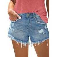 luvamia Women's Mid Rise Ripped Denim Shorts Frayed Raw Hem Casual Jeans Shorts at  Women's Clothing store