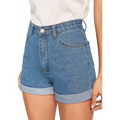 Milumia Women's Casual Mid Waist Rolled Hem Denim Jean Shorts with Pockets at Women's Clothing store
