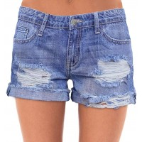 roswear Women's Ripped Mid Rise Stretchy Denim Jeans Shorts at  Women's Clothing store