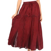 Sakkas Olivia Womens Maxi Bohemian Gypsy Long Skirt with Elastic Waist and Lace at  Women's Clothing store