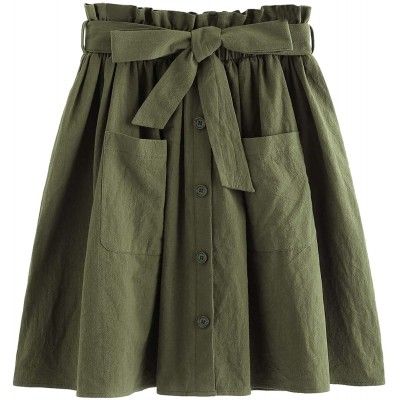 SheIn Women's Casual Self Tie Waist Frill Double Pocket Short Skirt at Women's Clothing store