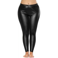 Bycc Bynn Womens Black Faux Leather Leggings Plus Size Shape-Keeping Slimming Leather Pants at  Women's Clothing store