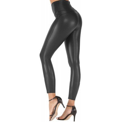Tulucky Stretchy High Waisted Tights Faux Leather Leggings Pants for Women at Women's Clothing store