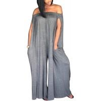 BONESUN Womens Off Shoulder Loose Wide Leg Palazzo Pants Jumpsuit Long Rompers Summer Casual Plus Size