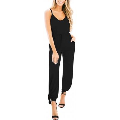 LOGENE Women's Summer Sleeveless Spaghetti Strap Slit Leg Ankle Tie Jumpsuit Romper with Pockets